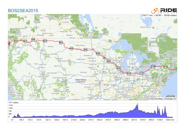The route for the bikeride from Boston to Seattle.